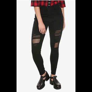 DESTRUCTED FISHNET SKINNY JEANS